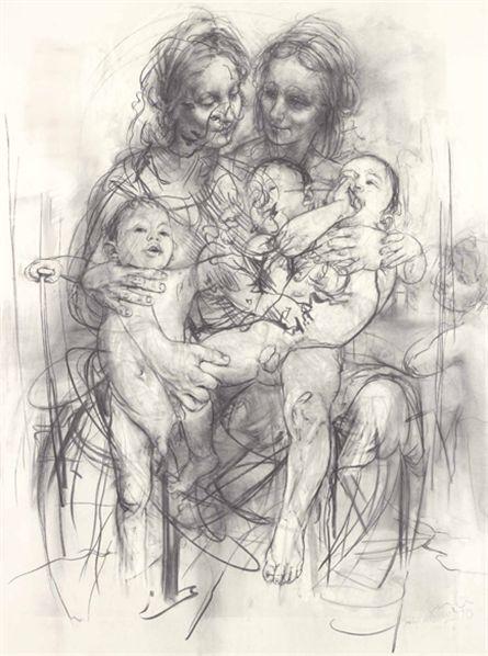Jenny Saville, Reproduction drawing IV (after the Leonardo cartoon), 2010