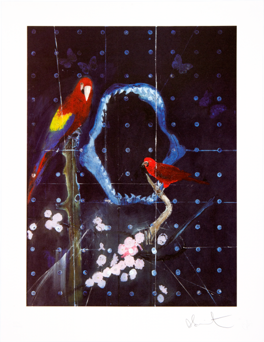 Damien Hirst, Red Bird and Parrot with Shark Jaw, 2012.