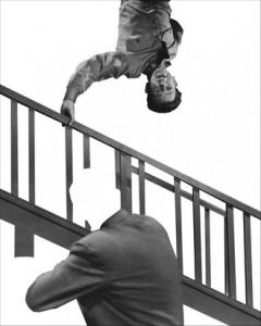 John Baldessari, Stairway, Coat and Person, 2011.