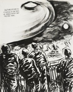 Raymond Pettibon print, They are become so common in the skies, 2012.