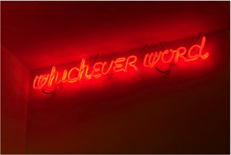 Maurizio Nannucci, Whichever word (Red), 2012.