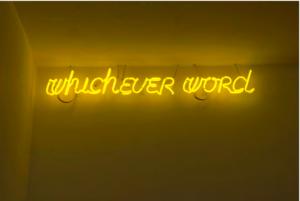 Maurizio Nannucci, Whichever word (Yellow), 2012.
