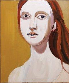 Chantal Joffe, Red Head on Ochre, 2012.