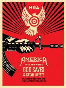 Shepard Fairey, God Saves & Satan Invests, 2013. (Lithograph)