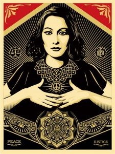 Shepard Fairey, Peace and Justice Woman, 2013.