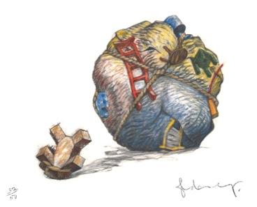"Claes Oldenburg / Coosje van Bruggen, ""House Ball with Fallen Toy Bear"", 1997/2013."