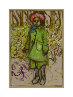 Billy Childish, Girl stood with flowers, 2013.