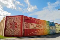 Shepard Fairey x RISK, Peace and Justice Collaboration, 2013. (mural)