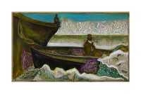 BILLY CHILDISH Seasonal Painting Print - man on an icy sea (version v)