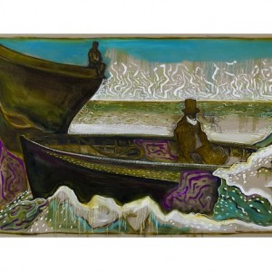 BILLY CHILDISH Seasonal Painting Print – man on an icy sea (version v)