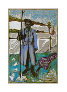 BILLY CHILDISH Seasonal Painting Print - man with christmas tree