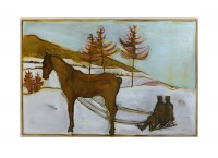 BILLY CHILDISH Seasonal Painting Print - sledge horse