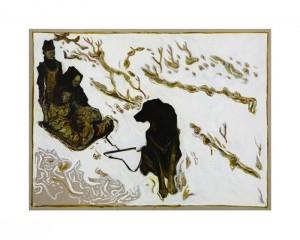 BILLY CHILDISH Seasonal Painting Print - children on dog sledge (Yukon Territory 1899)