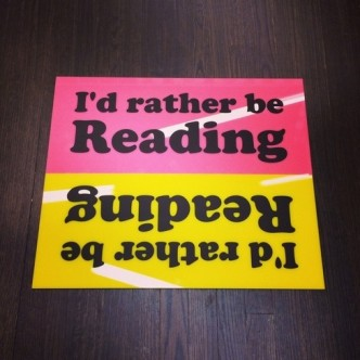 Jeremy Deller, I'd rather be reading (in pink and yellow)