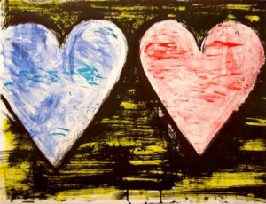 Jim Dine, Two hearts at Sunset, 2005