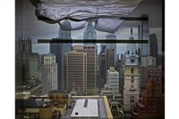 Abelardo Morell, Camera Obscura: View of Philadelphia from Loews Hotel Room #3013 with Upside Down Bed, 2014