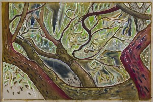 Billy Childish, in a willow tree, Kroonstad 1901, 2014