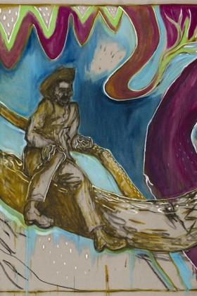 Billy Childish, man in tree, Kroonstad 1901, 2014