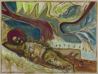Billy Childish, man reclining on a willow tree, Kroonstad 1901, 2014
