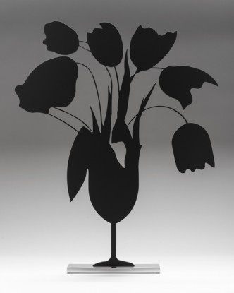 Donald Sultan, Tulips and Vase (black), 2014