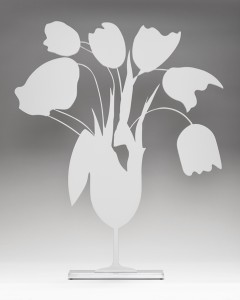 Donald Sultan, Tulips and Vase (white), 2014