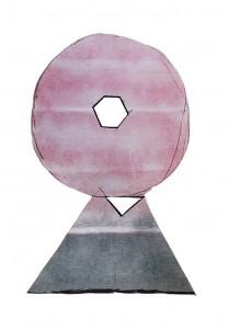 Daniel Dezeuze, Gaze peinte et découpée, 2014