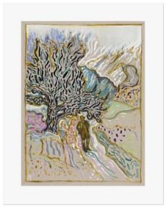 Billy Childish, under old juniper tree, 2015