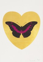 Damien Hirst, Love You - Gold Leaf/Black/Fuchsia, 2015