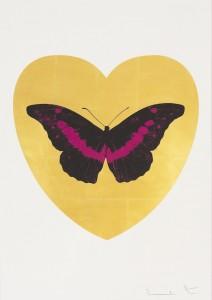 Damien Hirst,  Love You - Gold Leaf/Black/Fuchsia, 2015