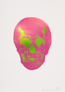 Damien Hirst — The Sick Dead: Loganberry Pink / Lime Green Skull, 2015