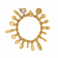 Damien Hirst — Pill Bracelet with Diamond Skull, Yellow Gold