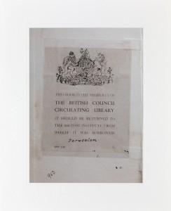 "Emily Jacir, No. 1614 British Council Palestine (from ""ex libris""), 2015"