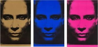 Katharina Sieverding, Die Sonne um Mitternacht, 2015 Variations: Bleu, Gold, Pink