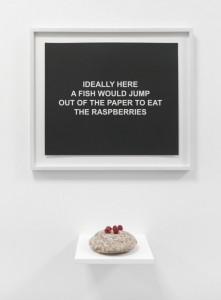 Laure Prouvost, Ideally here a fish would jump out of the paper to eat the raspberries, 2015
