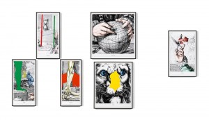 John Baldessari, Engravings with Sounds: SOB, GRUNT, CLACK, SNEEZE, URG, TOOT, 2015