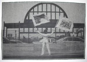 LaToya Ruby Frazier, Holding Two Flags Across Westside Highway Facing Pier 54, 2015