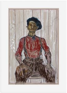 Billy Childish - Self-Portrait In Beret and Blue Scarf - 2017