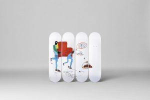 "Jean-Michel Basquiat - Skate deck ""Light blue movers"""