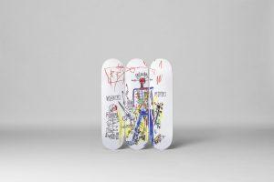 """Jean-Michel Basquiat - Skate deck Triptych """"Robot"""""""