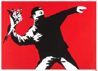 Banksy - Love is in the Air (Flower Trower) - 2003
