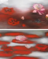 Ross Bleckner - The Water Lilies (C.M.) & Floating Red- 2019