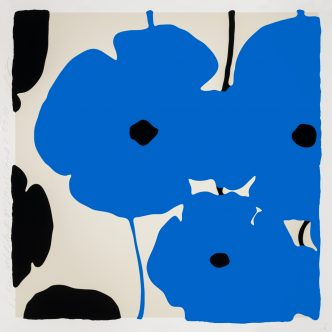 Donald Sultan - Blue & Black Poppies Feb 3 2020