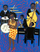 Faith Ringgold - Jazz Stories: Mama Can Sing Papa Can Blow #8: Don't Wanna Love You Like I Do, 2007/2020