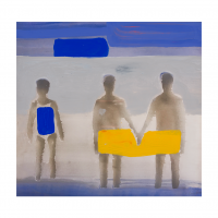 Katherine Bradford - Seaside, 1 Woman, 2 Men - 2020
