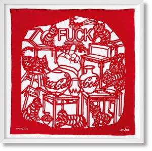 Ai Weiwei - The Silk Scarf 'Cats and Dogs'