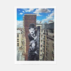 JR - Unframed, Charlie Chaplin revu par JR, The Kid, Charlie Chaplin & Jackie Coogan, USA, 1923, de jour Paris - 2021