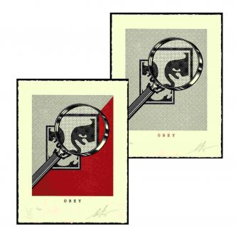 Shepard Fairey - OBEY MAGNIFYING GLASS - Red and Cream