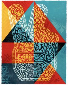 Shepard Fairey - Peace Fingers Geometric