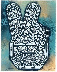 Shepard Fairey - Peace Fingers Unique